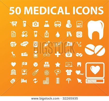 50 medical icons set, vector illustration