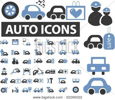 auto & car icons set, vector illustrations