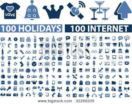 200 internet holidays icons set, vector