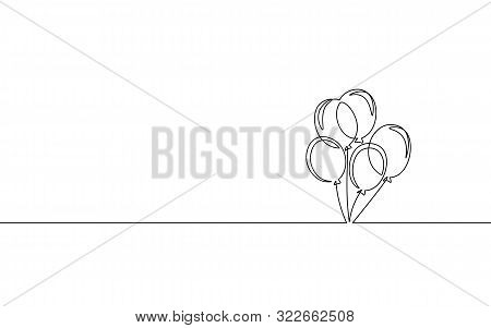 Single Continuous One Line Art Birthday Celebration Balloon. Holiday Kids Decoration Helium Flying A
