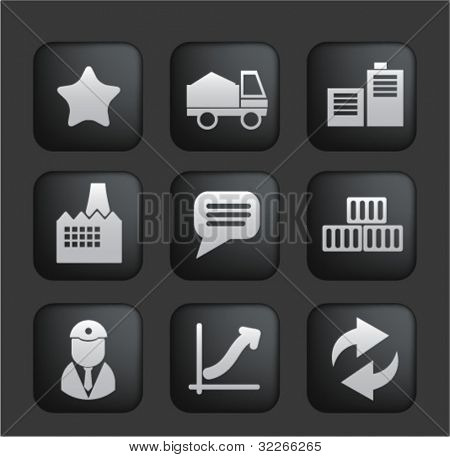 business & industry black buttons set, vector
