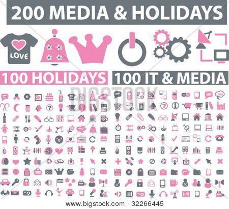 200 media & holidays icons set, vector