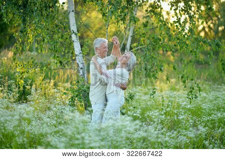 Portrait Of Beautiful Senior Couple Dancing In Summer Park