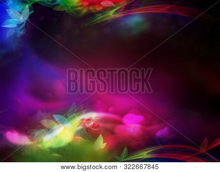 Abstract faitytale colorful background with flowers