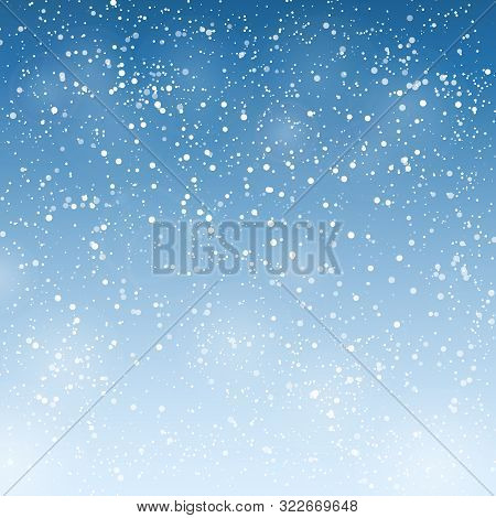Vector Winter Background With Blue Snow Sky