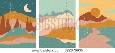 Triptych Of Simple Stylised Minimalist Japanese Landscapes In Muted Colors, Abstract Elements. Vecto