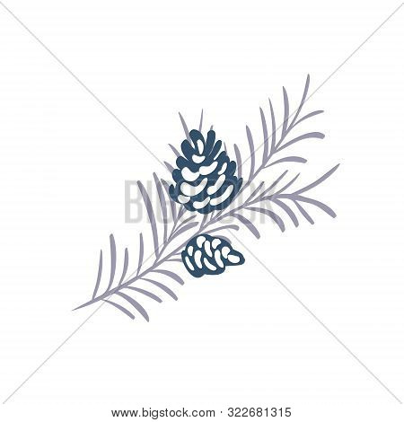 Hand Drawn Christmas Vector Element Of Pine Cone With Branch And Place For Your Text. Concept Xmas W