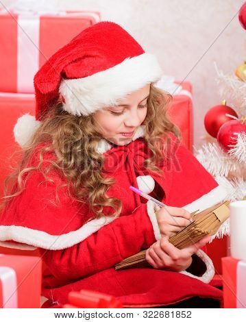 Dear Santa. Believe In Miracle. Send Letter For Santa. Wish List. Child Santa Costume Enjoy Christma