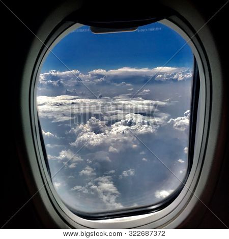 Beautiful View From Airplane Window, Large Wing Of Aircraft Shows Casement. Windows Aircraft Show Lo