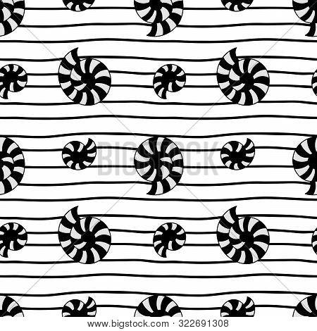 Stylized Seashells On Striped Background, Hand Drawn Vector Seamless Pattern. Black On White.
