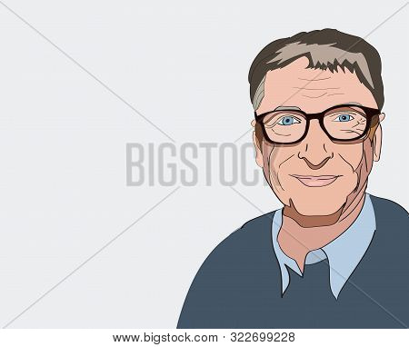 Sept, 2019 Bill Gates Editorial Illustration. Vector Portrait On A Gray Background.