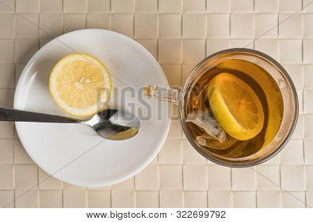 Black Tea With Lemon As A Natural Remedy For Flu Or Cold. Autumn Or Fall Season Disease Or Illness.