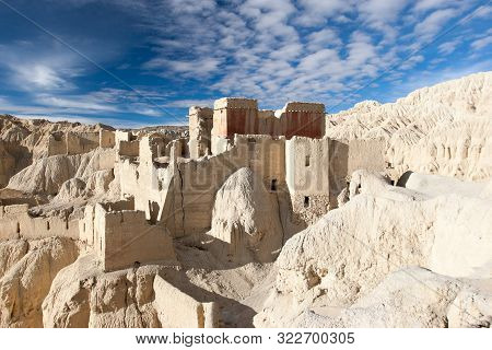 A View Of Tsaparang Fortress In Western Tibet. Situated In A Far Corner Of Tibet, Near The Border Wi