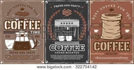 Coffee Shop And Coffeehouse Drinks. Vector Coffee Maker Machine, Beans In Bag, Latte Steam In Takeaw