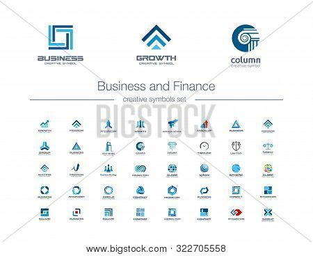 Business And Finance Creative Symbols Set. Global Banking, Stock Marketing Abstract Business Logo Co