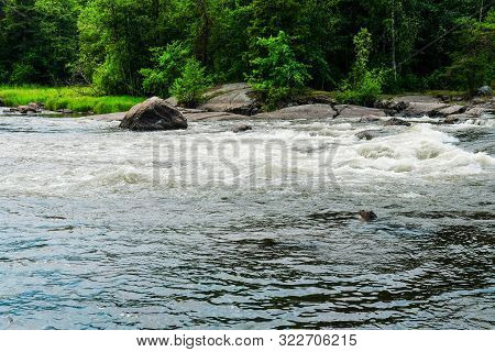 Finland, Kotka: Langinkoski Rapid On The Kumi River In Kotka. Harsh Northern Finnish Nature. The Fav