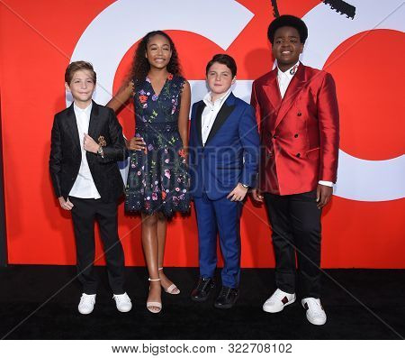 LOS ANGELES - AUG 14:  Jacob Tremblay, Millie Davis, Brady Noon and Keith L. Williams arrives for the 'Good Boys' Los Angeles Premiere on August 14, 2019 in Westwood, CA