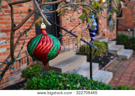 Historic German Village in Columbus, Ohio is decorated for the Christmas holiday season