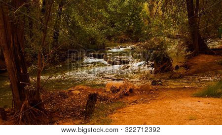 Babbling Water Brook In Wooded Dusty National Park