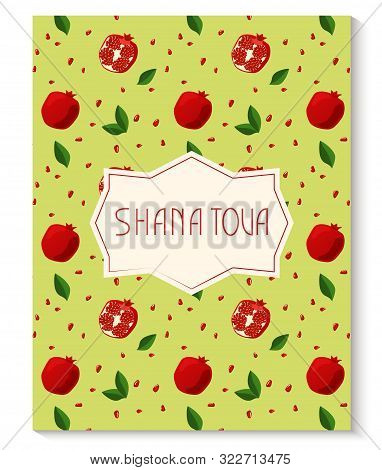 Rosh Hashanah Greeting Card With Pomegranate Pattern. Jewish New Year. Shana Tova, New Year In Hebre