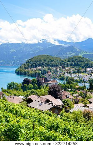 Beautiful Alpine Village Spiez Located By Lake Thun In Switzerland Photographed In The Summer Season