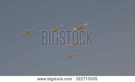 Moscow - May 7: Bombers Tupolev Tu-160 And Tu-22m3 Fly In Sky On Training Parade In Honor Of Great P