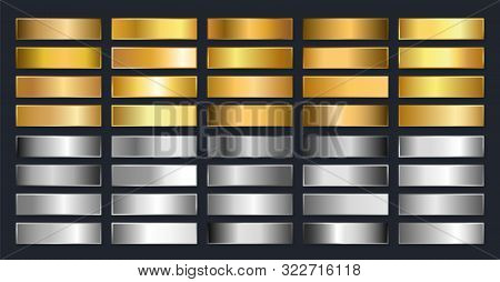 Collection Of Gold, Silver, Chrome Metallic Gradient. Brilliant Plates With Gold, Silver, Chrome, Me