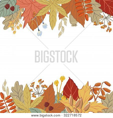 Top And Bottom Border Of Fall, Autumn Leaves, Twigs And Branches, Banner Or Print Design, Vector Ill