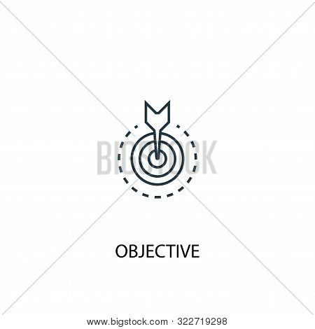 Objective Concept Line Icon. Simple Element Illustration. Objective Concept Outline Symbol Design. C