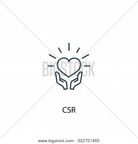 Csr Concept Line Icon. Simple Element Illustration. Csr Concept Outline Symbol Design. Can Be Used F