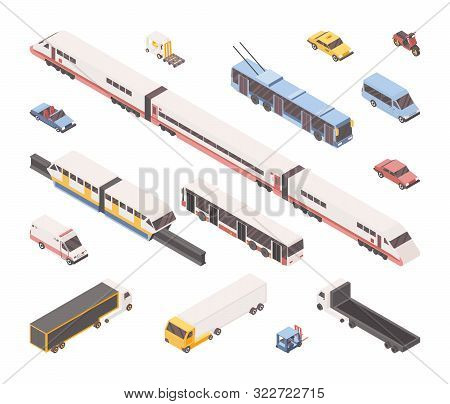 City Transport Isometric Vector Illustrations Set. Public And Industrial Vehicles Pack, Urban Travel