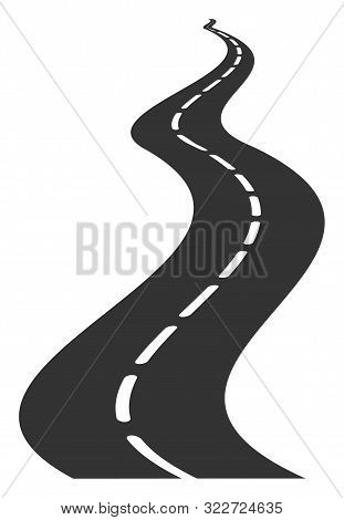 Vector Far Way Road Flat Icon. Vector Pictograph Style Is A Flat Symbol Far Way Road Icon On A White