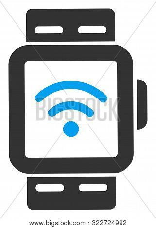 Vector Wi-fi Smart Watches Flat Icon. Vector Pictograph Style Is A Flat Symbol Wi-fi Smart Watches I