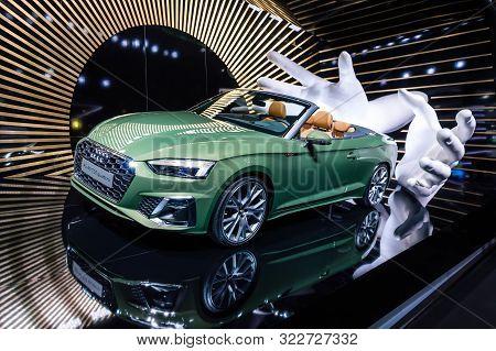 New Green Audi A5 40 Tdi Quattro Cabriolet Car Presented At Iaa 2019
