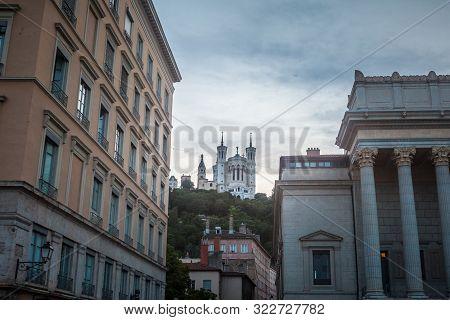 Lyon, France - July 13, 2019: Basilique Notre Dame De Fourviere Basilica Church In Lyon, France, Sur