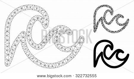 Mesh Tsunami Model With Triangle Mosaic Icon. Wire Carcass Polygonal Mesh Of Tsunami. Vector Mosaic