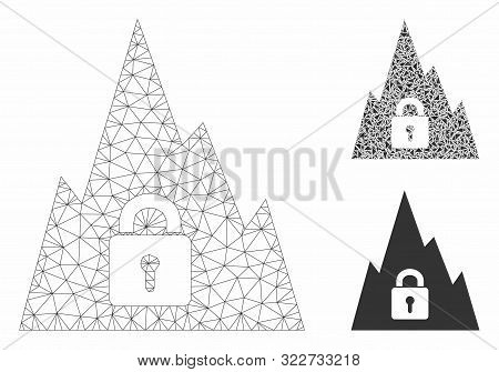 Mesh Locked Tunnel Model With Triangle Mosaic Icon. Wire Carcass Triangular Mesh Of Locked Tunnel. V
