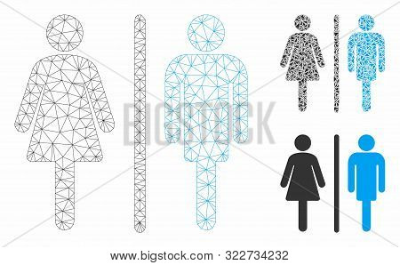 Mesh Wc Persons Model With Triangle Mosaic Icon. Wire Frame Polygonal Mesh Of Wc Persons. Vector Mos