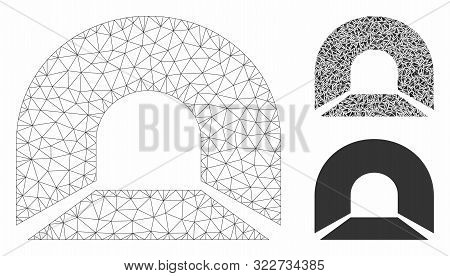 Mesh Tunnel Model With Triangle Mosaic Icon. Wire Frame Triangular Mesh Of Tunnel. Vector Mosaic Of