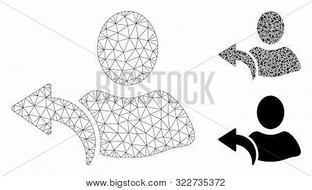 Mesh Undo Model With Triangle Mosaic Icon. Wire Frame Polygonal Mesh Of Undo. Vector Composition Of
