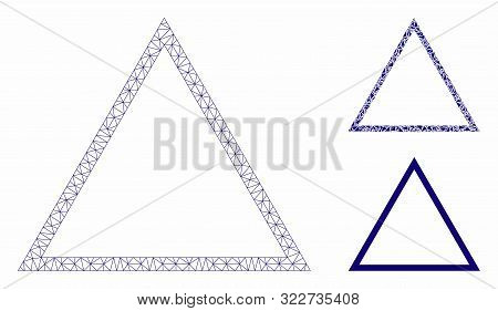 Mesh Triangle Frame Model With Triangle Mosaic Icon. Wire Frame Triangular Mesh Of Triangle Frame. V