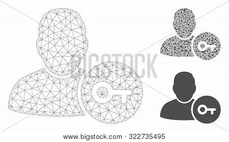 Mesh User Login Model With Triangle Mosaic Icon. Wire Carcass Polygonal Mesh Of User Login. Vector M