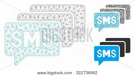 Mesh Sms Messages Model With Triangle Mosaic Icon. Wire Carcass Polygonal Mesh Of Sms Messages. Vect