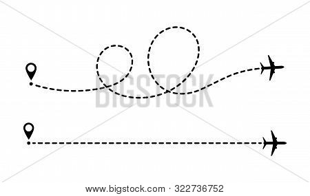 Airplane Line Path Route. Aircraft Route Dotted Lines. Tourism And Travel. Tourist Route By Plane. T