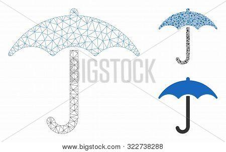 Mesh Umbrella Model With Triangle Mosaic Icon. Wire Frame Triangular Mesh Of Umbrella. Vector Collag