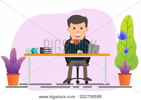Business Man Sitting At His Desk And Working On Laptop Vector Illustration. Flat Design.
