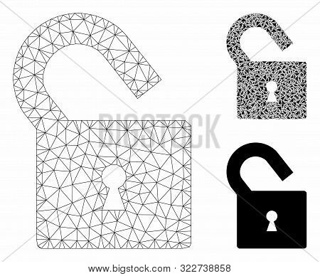 Mesh Unlock Model With Triangle Mosaic Icon. Wire Frame Triangular Mesh Of Unlock. Vector Compositio