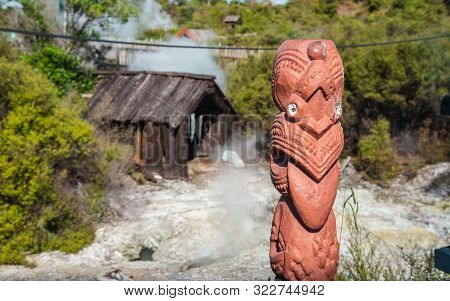 Rotorua, New Zealand -december-11-2017 : The Maori Art Carving Decoration At Natural Hot Springs In