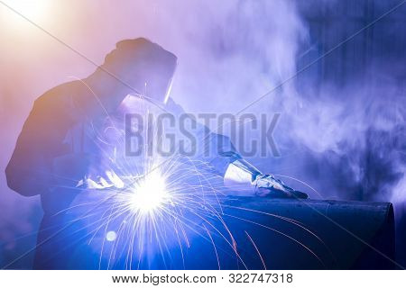 Industrial Welders, Industrial Steel Pipe Parts, Welding Workers, Steel Workpieces