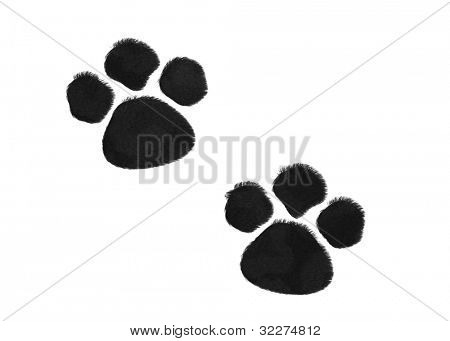 Furry paw prints background